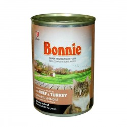 BONNIE CANNED CAT FOOD WITH BEEF/TURKEY - CHUNKS IN LOAF PATE - 400 Gr