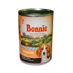 BONNIE CANNED DOG FOOD WITH CHICKEN - CHUNKS IN GRAVY - 400 Gr