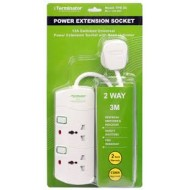 2 WAYUNIVERSAL EXTENSION SOCKET WITH SWITCH AND LED 3M CABLE TERMINATOR