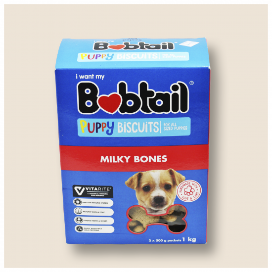 BOBTAIL PUPPY BISCUITS  FOR ALL SIZED PUPPIES, MILKY BONES