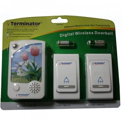 TERMINATOR DOOR BELL TDB 011BBDC	DOOR BELL DIGITAL WIRELESS WITH 38 DIFFERENT MELODIES + 2 TRANSMITTER AND 1 RECEIVER DC