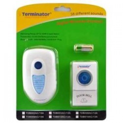 TERMINATOR DOOR BELL TDB 003AC-13A	DOOR BELL DIGITAL WIRELESS WITH 38 DIFFERENT MELODIES 3 PIN FLAT 13 PLUG
