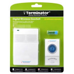 TERMINATOR DOOR BELL TDB 005DC	DOOR BELL DIGITAL WIRELESS WITH 38 DIFFERENT MELODIES DV