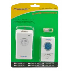 TERMINATOR DOOR BELL TDB 002AC-13A	DOOR BELL DIGITAL WIRELESS WITH 38 DIFFERENT MELODIES 3PIN FLAT 13A PLUG