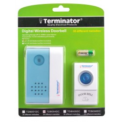 TERMINATOR DOOR BELL TDB 004DC	DOOR BELL DIGITAL WIRELESS WITH 38 DIFFERENT MELODIES DC