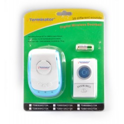 TERMINATOR DOOR BELL TDB 009AC=13A	DOOR BELL DIGITAL WIRELESS WITH 38 DIFFERENT MELODIES 3 PIN FLAT 13ANPLUG