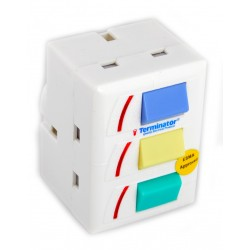 TERMINATOR MULTI PLUG FITTED 13A FUSE 3 PIN FLAT PLUG 3 INDIVIDUAL SWITCH ON TOP 3 WAY 3 PIN UK SOCKET TMA-10