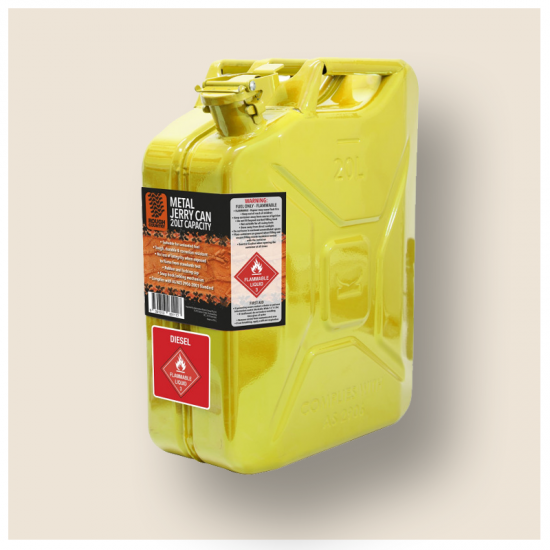 YELLOW 20L METAL JERRY CAN DIESEL