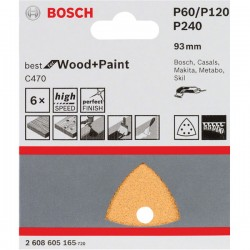 BOSCH C470 sanding sheet, pack of 6 93 mm, 60; 120; 240