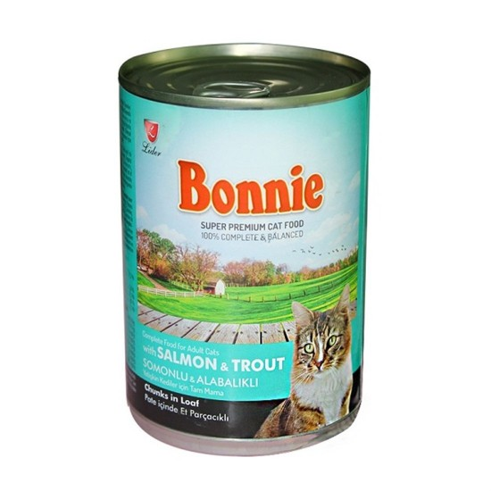 BONNIE CANNED CAT FOOD WITH SALMON/TROUT - CHUNKS IN LOAF PATE - 400 Gr