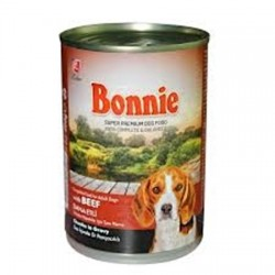 BONNIE CANNED DOG FOOD WITH BEEF - CHUNKS IN GRAVY - 400 Gr