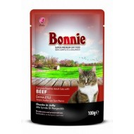 BONNIE POUCH FOR CAT WITH BEEF CHUNKS IN GRAVY - 100 Gr