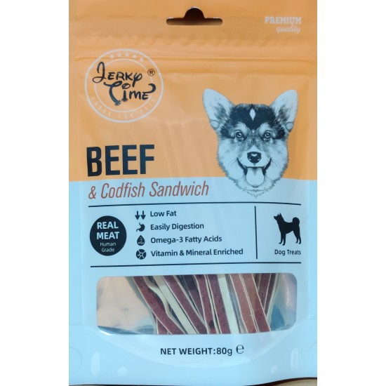 JERKY TIME DOG BEEF & CODFISH SANDWICH 80G