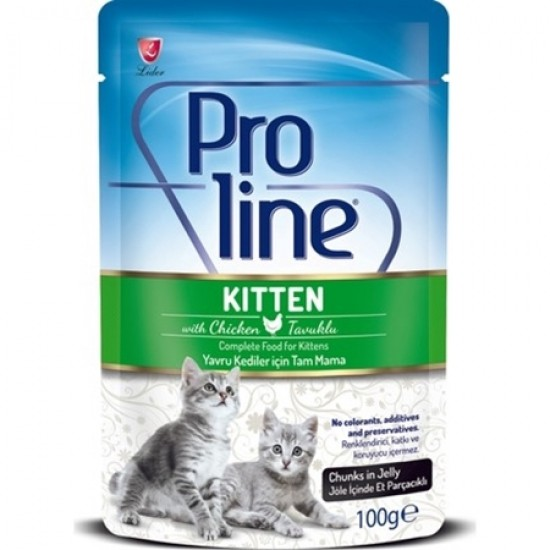 PROLINE POUCH FOR KITTEN WITH CHICKEN CHUNKS IN JELLY - 100 Gr