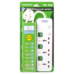 TERMINATOR 3 WAY POWER EXTENSION SOCKET WITH 2 USB
