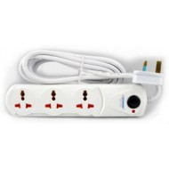 TERMINATOR 3 WAY UNIVERSAL EXTENSION SOCKET WITH SWITCH AND LED 3M CABLE