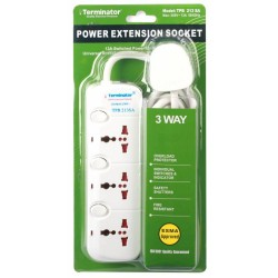 TERMINATOR 3 WAY UNIVERSAL POWER EXTENSION SOCKET 3M
