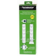TERMINATOR TVPB 8A-2USB 8 WAY UNIVERSAL POWER EXTENSION VERTICAL WITH 2USB 2000mA & 2 SWITCHES 3M CABLE